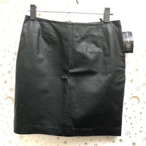 NWT INC Black Leather Mini Skirt